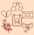 set valentines day design line elements vector image vector image