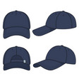 set with blue denim baseball cap vector image vector image