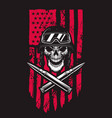 soldier skull on american flag background design vector image
