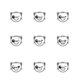 trendy line style set of funny cartoon cat vector image