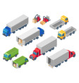 trucking logistic isometric trucks loading truck vector image vector image