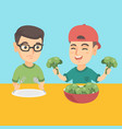 two caucasian boys eating broccoli vector image