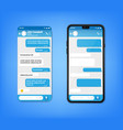 ui ux phone chat bot blue interface text message vector image vector image