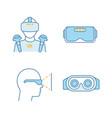 virtual reality color icons set vector image