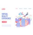 virtual reality experience flat landing vector image