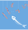 white fish bone skeleton set of colored fishing vector image vector image