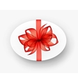 White Oval Gift Box with Red Bow and Ribbon vector image