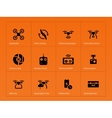 Wireless quadcopter and drone icons on orange vector image
