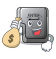 with money bag button enter in shape mascot vector image