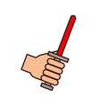 hand with sword weapon warrior game vector image