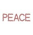 Word Peace made from hearts vector image