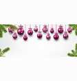 banner with pink christmas balls vector image vector image