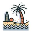 beach line color icon vector image vector image