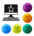 black shopping cart on screen computer icon vector image vector image