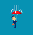 businessman and red umbrella protection concept vector image vector image