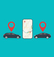 car with app cab in mobile uber taxi rent vector image