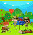 children camping out on rainy day vector image vector image