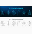 christmas decoration set made by dot and line low vector image