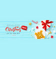 christmas salebanner with gift boxes gold metal vector image