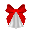Christmas silver bell with red bow vector image vector image