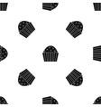 cup cake pattern seamless black vector image vector image