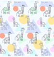 cute pattern with outline doodle diplodocus vector image