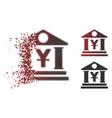 damaged pixel halftone yen bank building icon vector image vector image