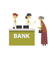 elderly woman consulting at manager bank office vector image vector image