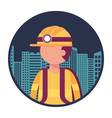 firefighter with cityscape character vector image