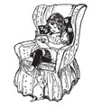 girl reading book in chair study vintage engraving vector image vector image