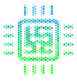 halftone blue-green cpu circuit icon vector image vector image