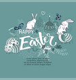 handdrown easter background with eggs rabbit and vector image vector image