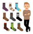 happy cartoon character boy and male style socks vector image