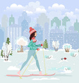 happy young woman cross country skiing in city vector image