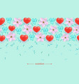 heart on flower seamless pattern background vector image vector image
