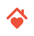heart sign with roof house with heart red icon vector image vector image