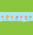 horizontal background with cute flowers vector image vector image