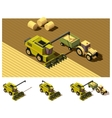 isometric low poly combine harvester mowing vector image vector image