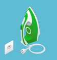 isometric steam iron and power socket on blue vector image