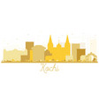 kochi city skyline silhouette in gold color vector image vector image