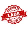 laos round ribbon seal vector image vector image