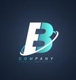 Letter b blue white logo icon design vector image