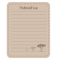 Line paper design with tree of live vector image vector image