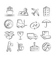 logistic and delivery doodle icons vector image