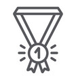 medal line icon badge and award first place vector image vector image