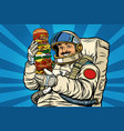 mustachioed astronaut with giant burger vector image vector image