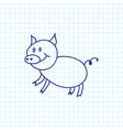 of animal symbol on pig doodle vector image vector image
