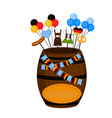 oktoberfest barrel with traditional objects vector image vector image