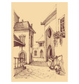 old city hand drawing small street and motor vector image vector image