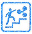 person climbing to ripple framed stamp vector image
